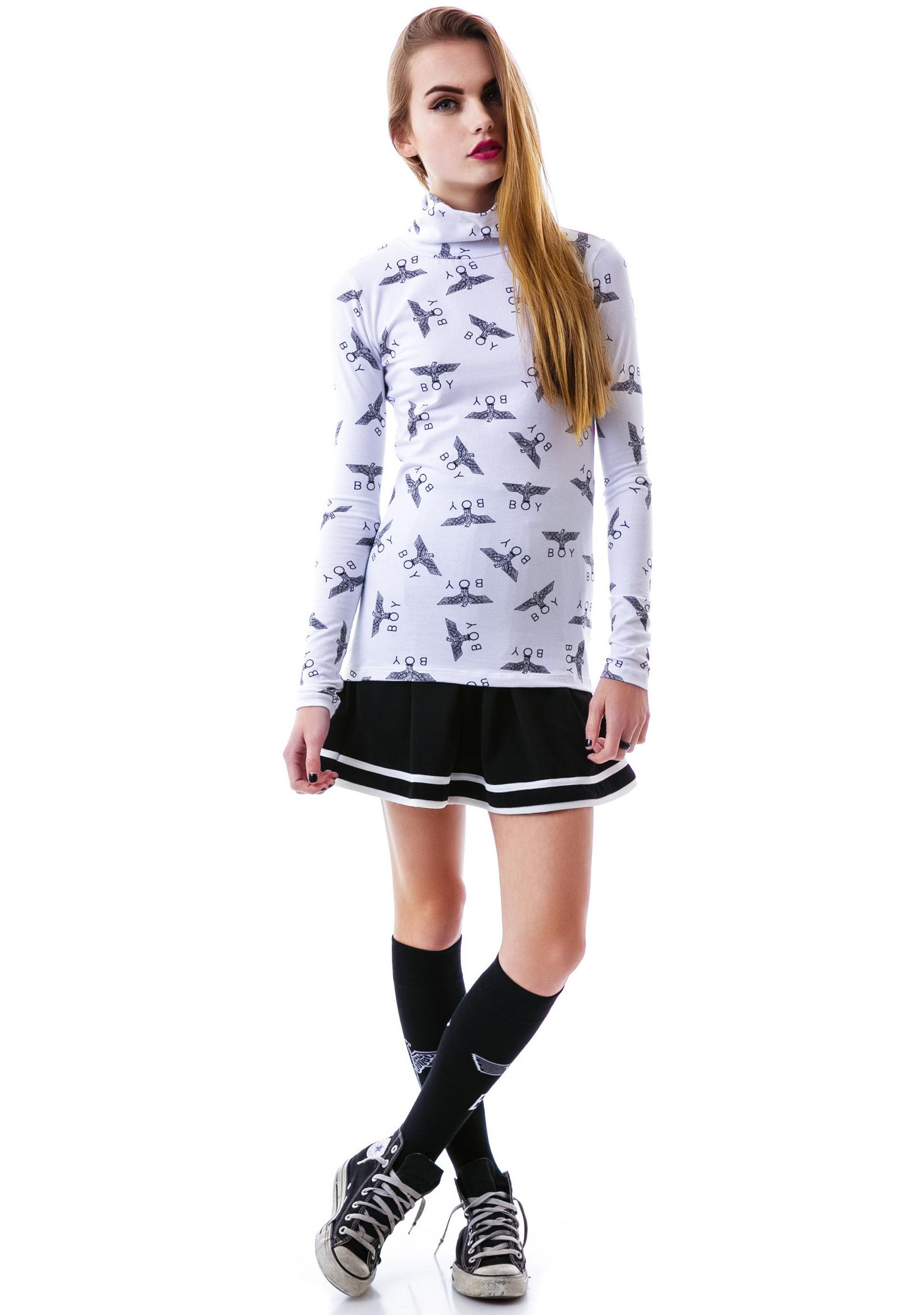 BOY London Allover Eagle BOY Turtle Neck Top