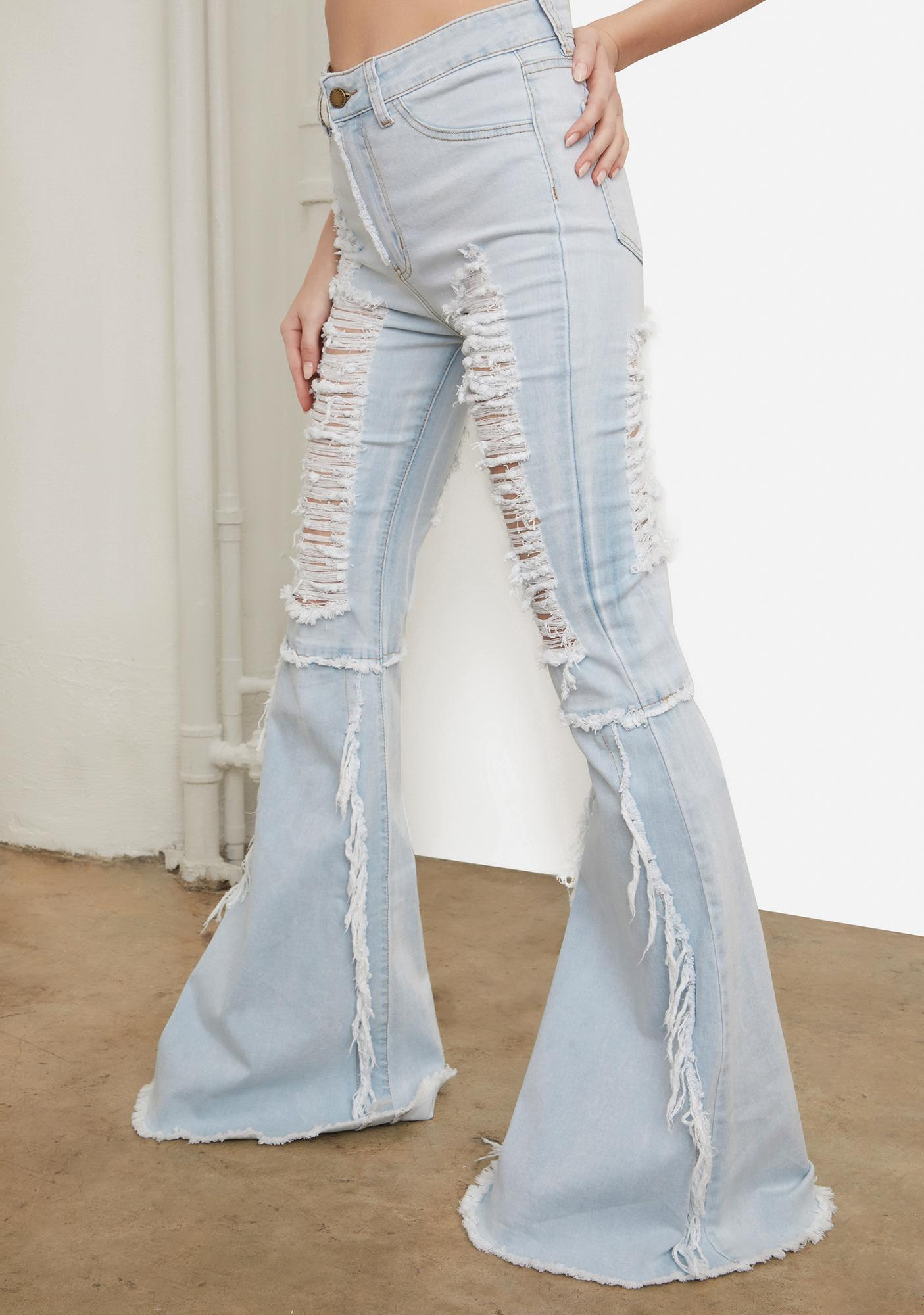 Pool Friend Or Foe Distressed Flare Jeans
