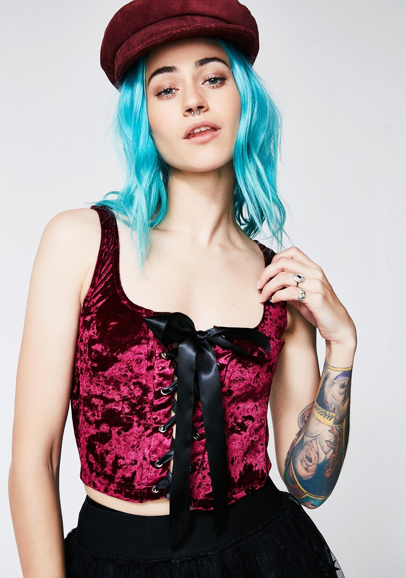 Current Mood Wine Velvet Crushin' Lace-Up Bustier