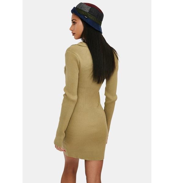 Sage Twisted Vibes Sweater Mini Dress