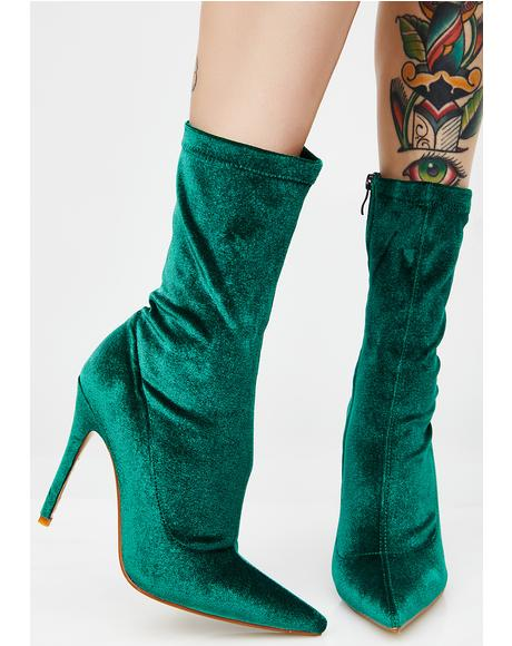 Deep Green Direct Point Toe Ankle Boots