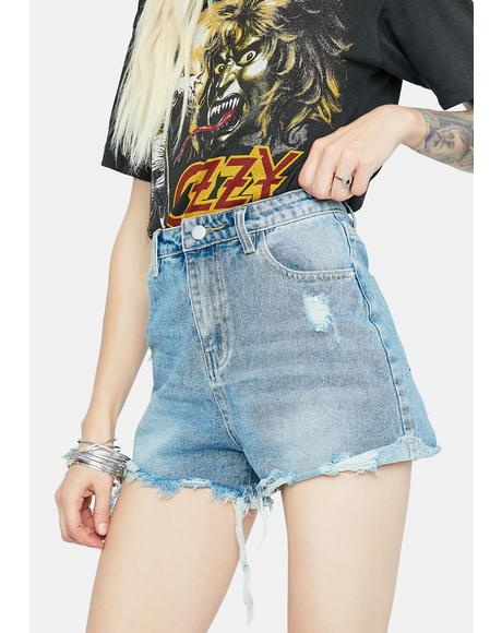Vintage Point High Waist Denim Shorts