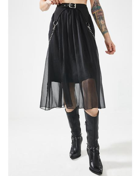 Heavy Industry Chiffon Midi Skirt