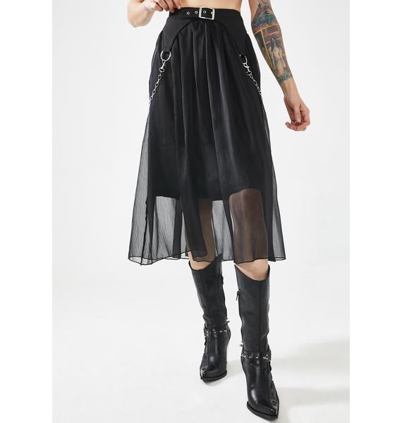 Punk Rave Heavy Industry Chiffon Midi Skirt