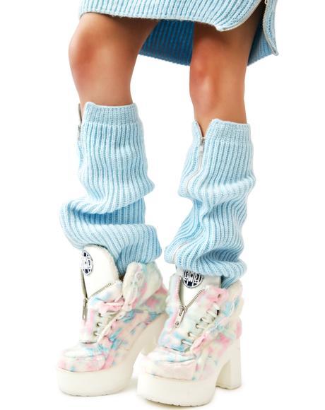 Blu Fluffy Knit Leg Warmers
