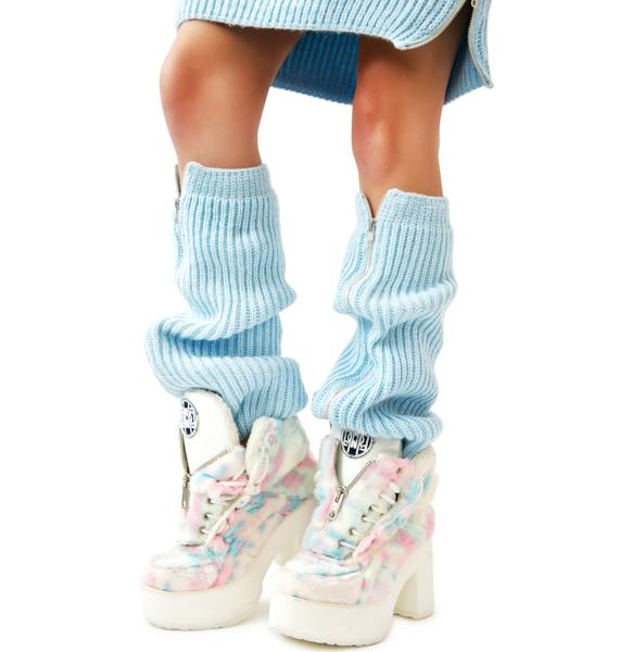 Maria ke Fisherman Blu Fluffy Knit Leg Warmers