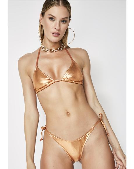 Money Up Metallic Bikini Set