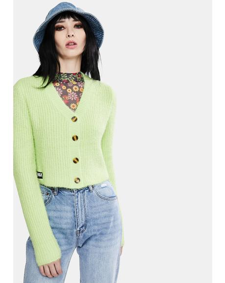Lime Fuzzy Knit Cardigan