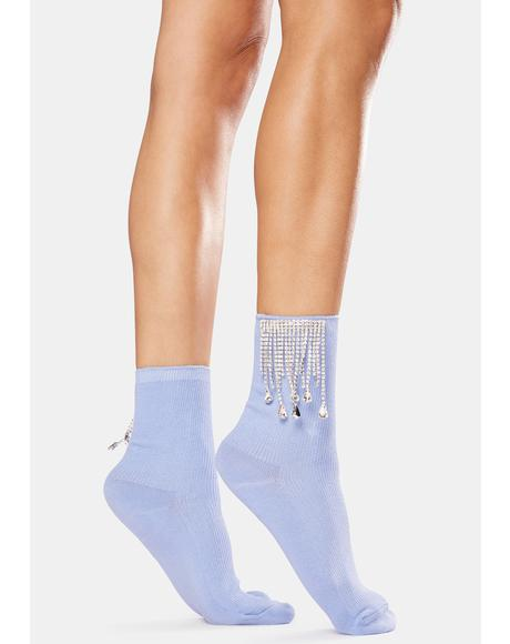 Need Funds Rhinestone Fringe Crew Socks