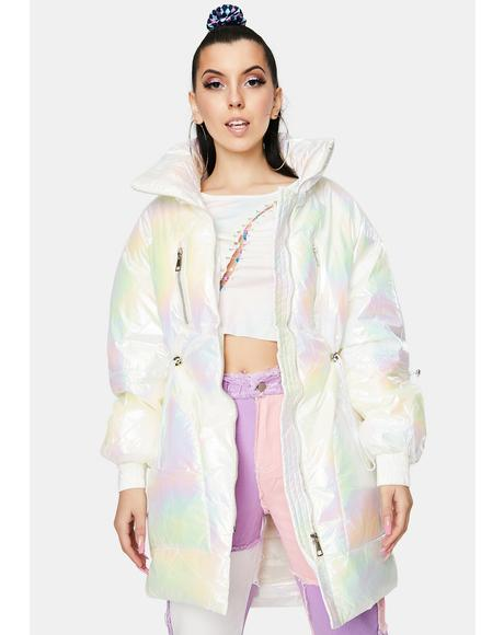 Opal Pearl Long Puffer Jacket