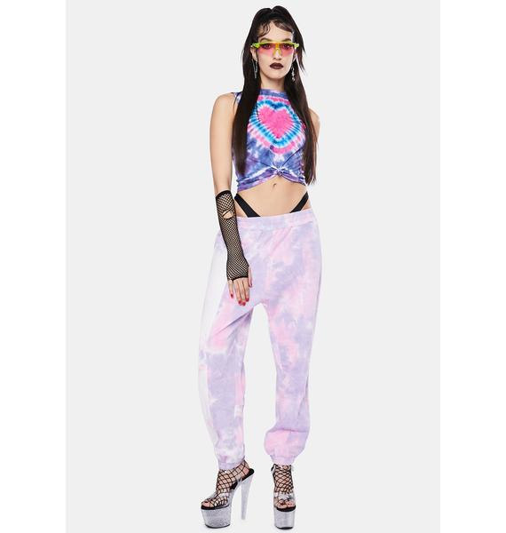 Jaded London Pink & Purple Tie Dye Heart Tank Top