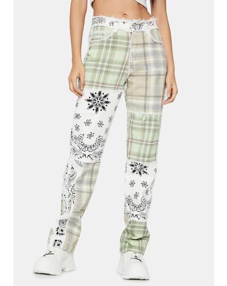 Patchwork Bandana Boyfriend Jeans