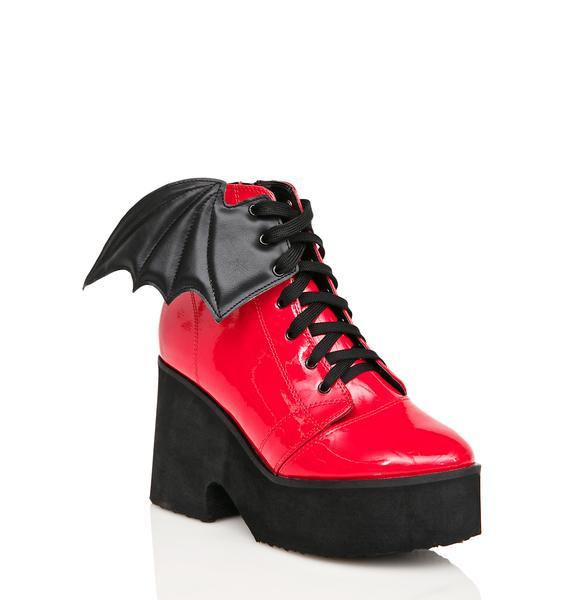 Iron Fist Patent Blood Bat Wing Platform Boots