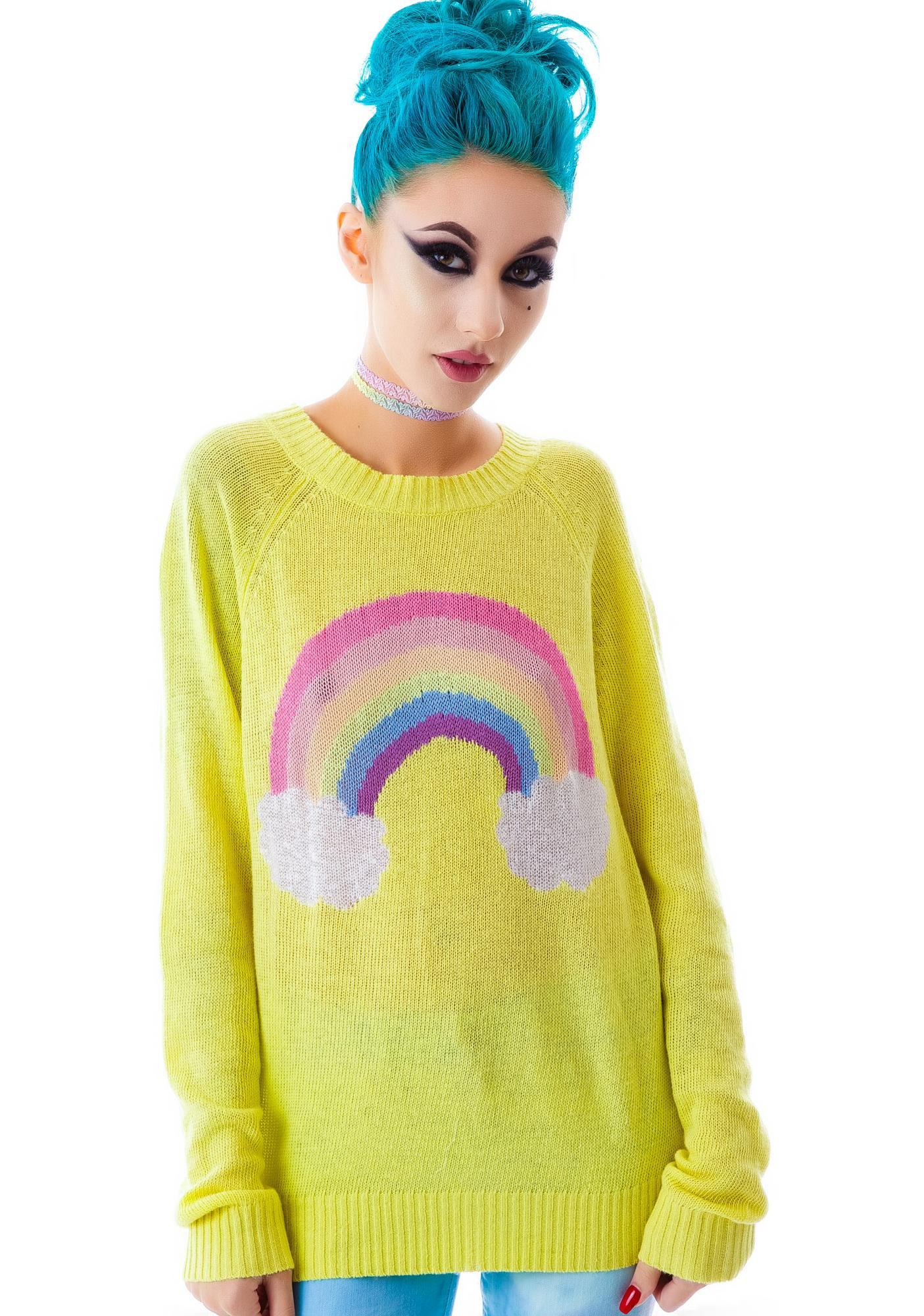 Wildfox Couture Island Rainbow Mini 70's Sweater