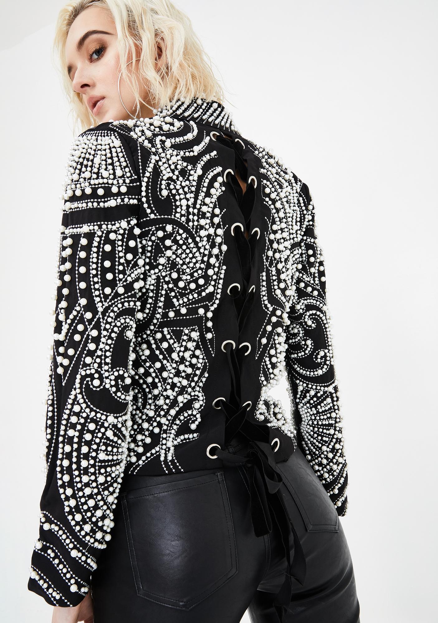 AZALEA WANG Love To Love U Pearl Embellished Lace Up Jacket