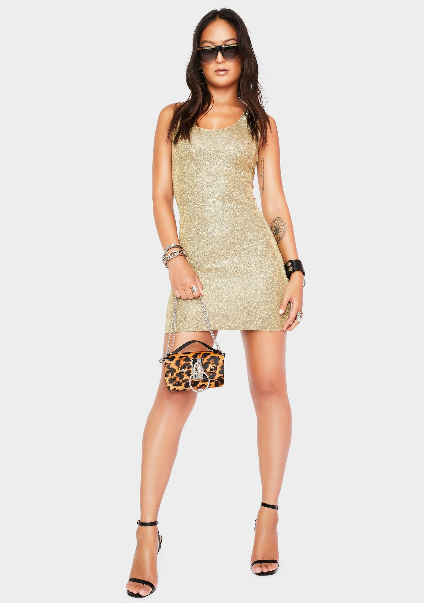 Momokrom Champagne Glitter Mini Dress