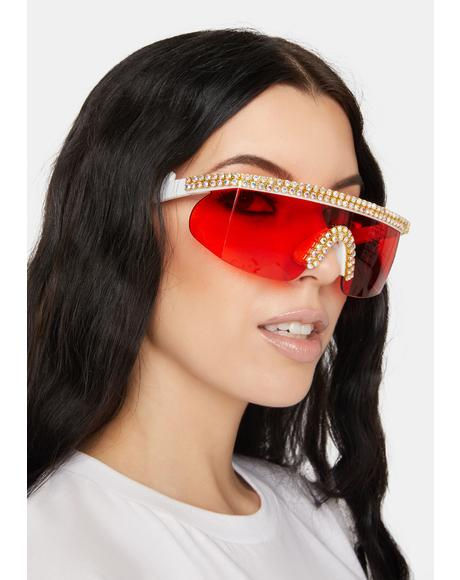 Stay Unbothered Rhinestone Sunglasses