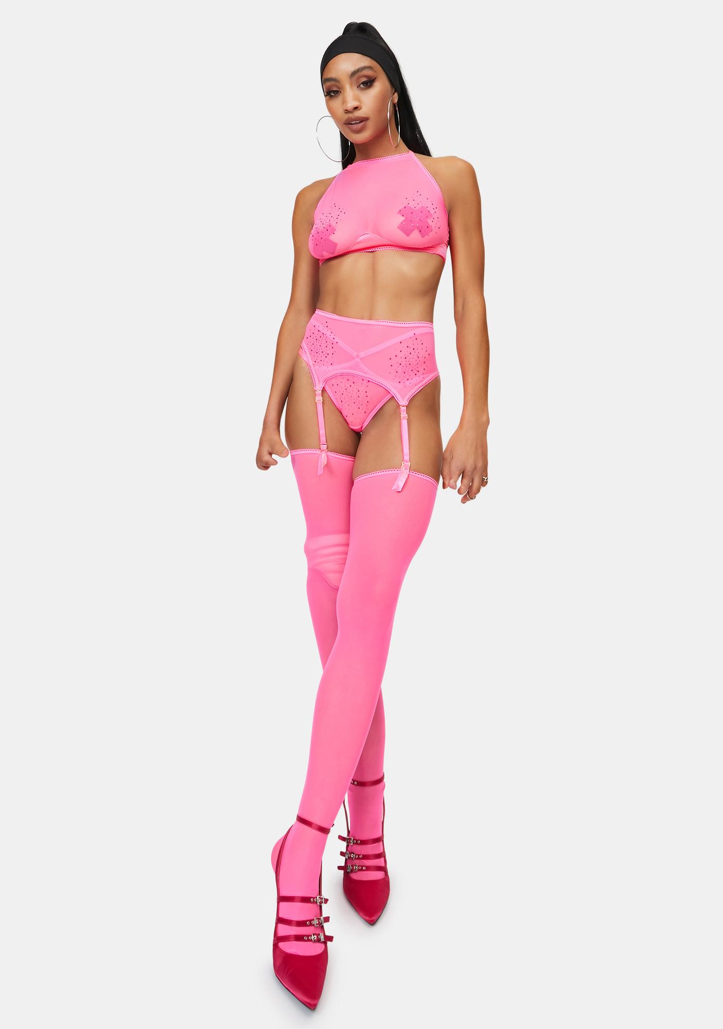 Candy Lust With Luxury Sheer 3-Piece Garter Set