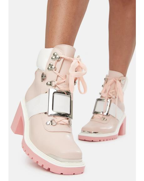 Pink Stay Focused Ankle Booties