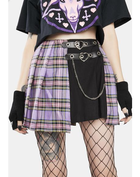 Purple Checkered Splice Pleated Skirt