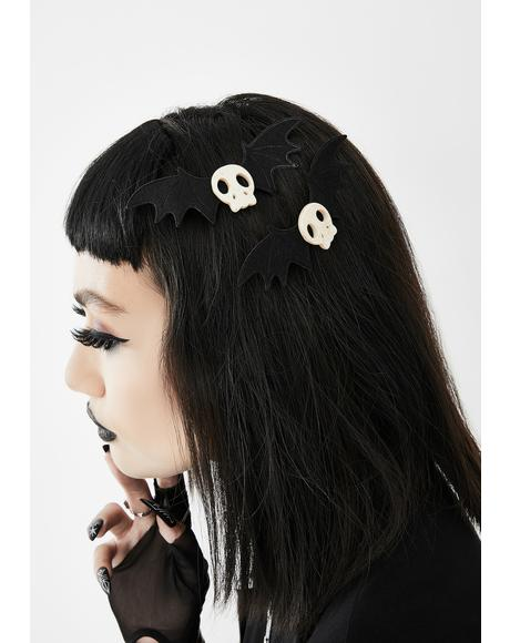 Spooky Princess Skull Hair Clips
