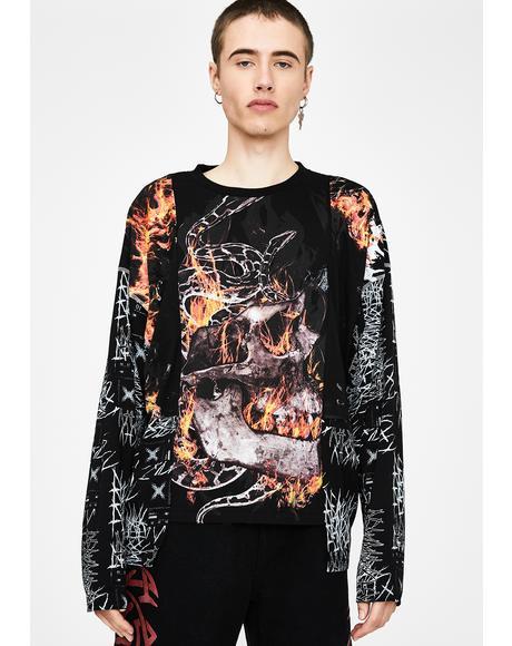 Anarchy Skull & Flame Long Sleeve Tee