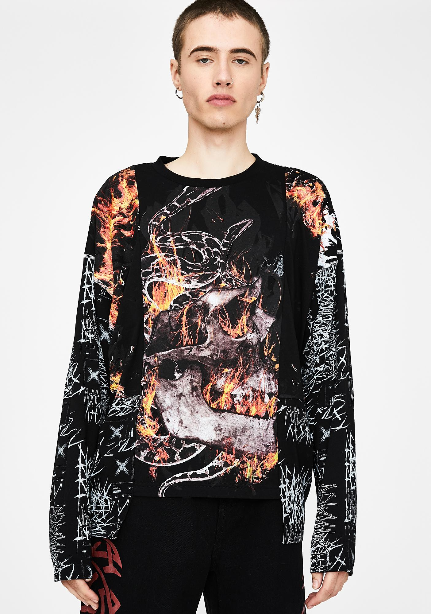 Jaded London Anarchy Skull & Flame Long Sleeve Tee