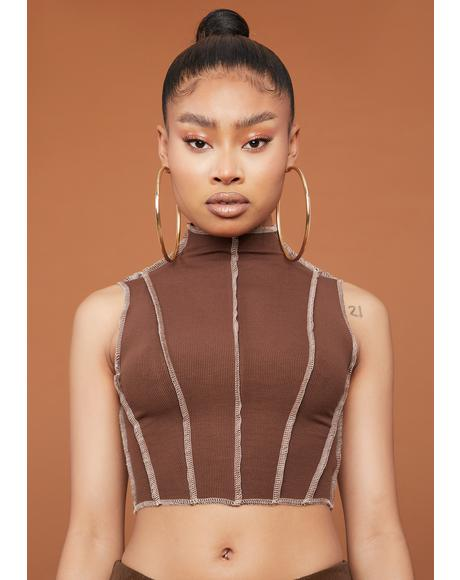 Chocolate Scene Stealer Contrast Stitch Crop Top