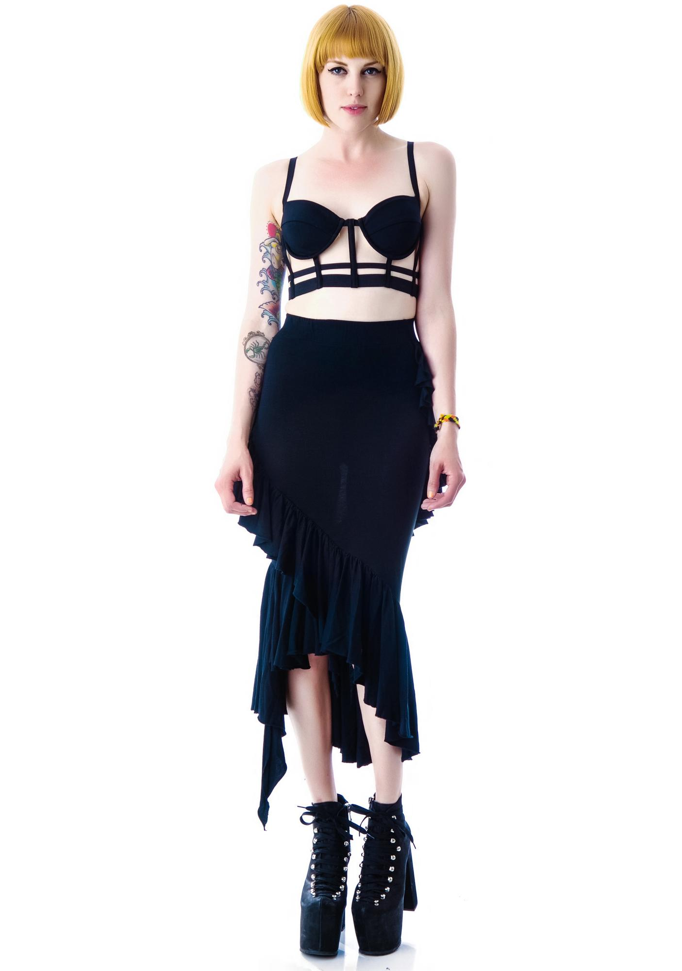 Widow Eternal Night Ruffle Maxi Skirt