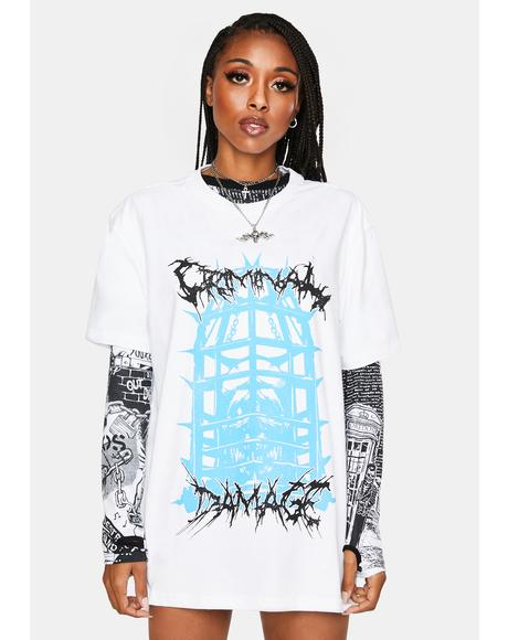 White Caged Graphic Tee