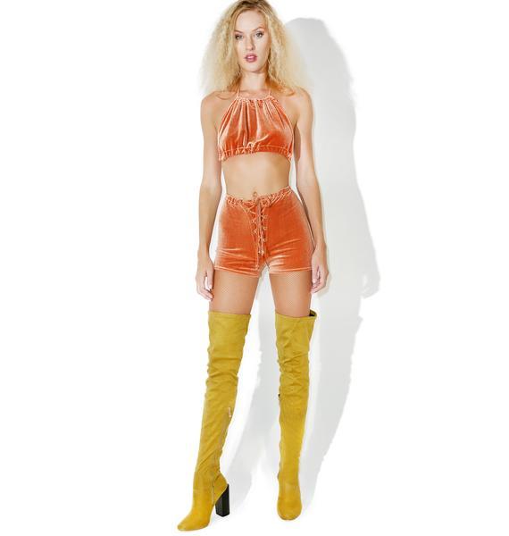 Homecooked Karma Solid Velvet Lace-Up Shorts