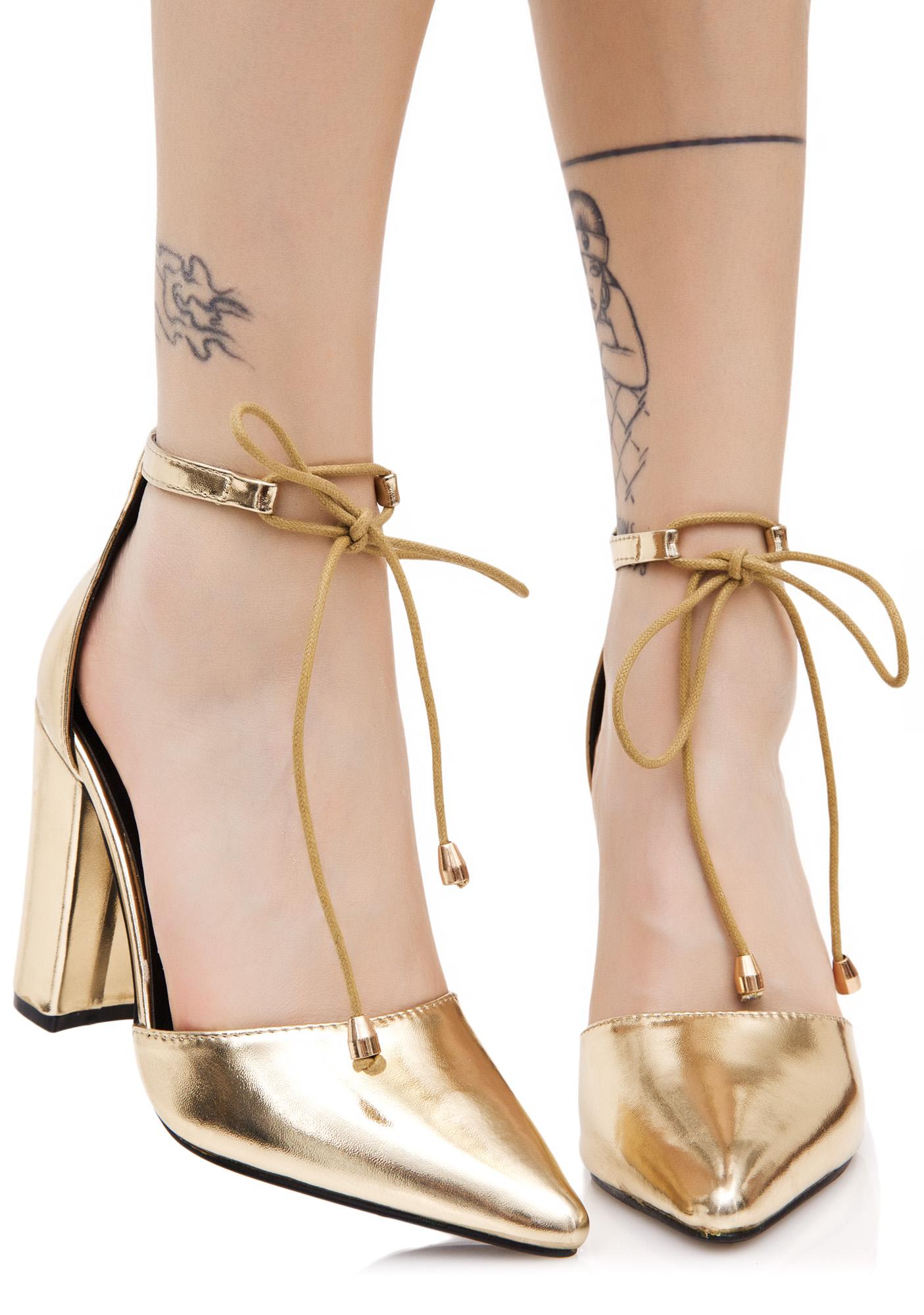 Gold Vintage Tie Chunky Heel