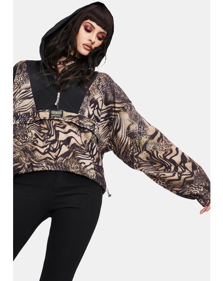 Butterfly Leopard Print Fleece Anorak