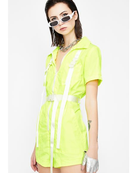 Caution Utilitarian Chic Nylon Romper