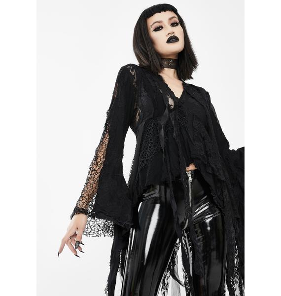 Devil Fashion Grunge in Fringe Long Sleeve Top