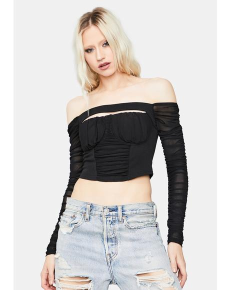 Make My Move Ruched Mesh Crop Top