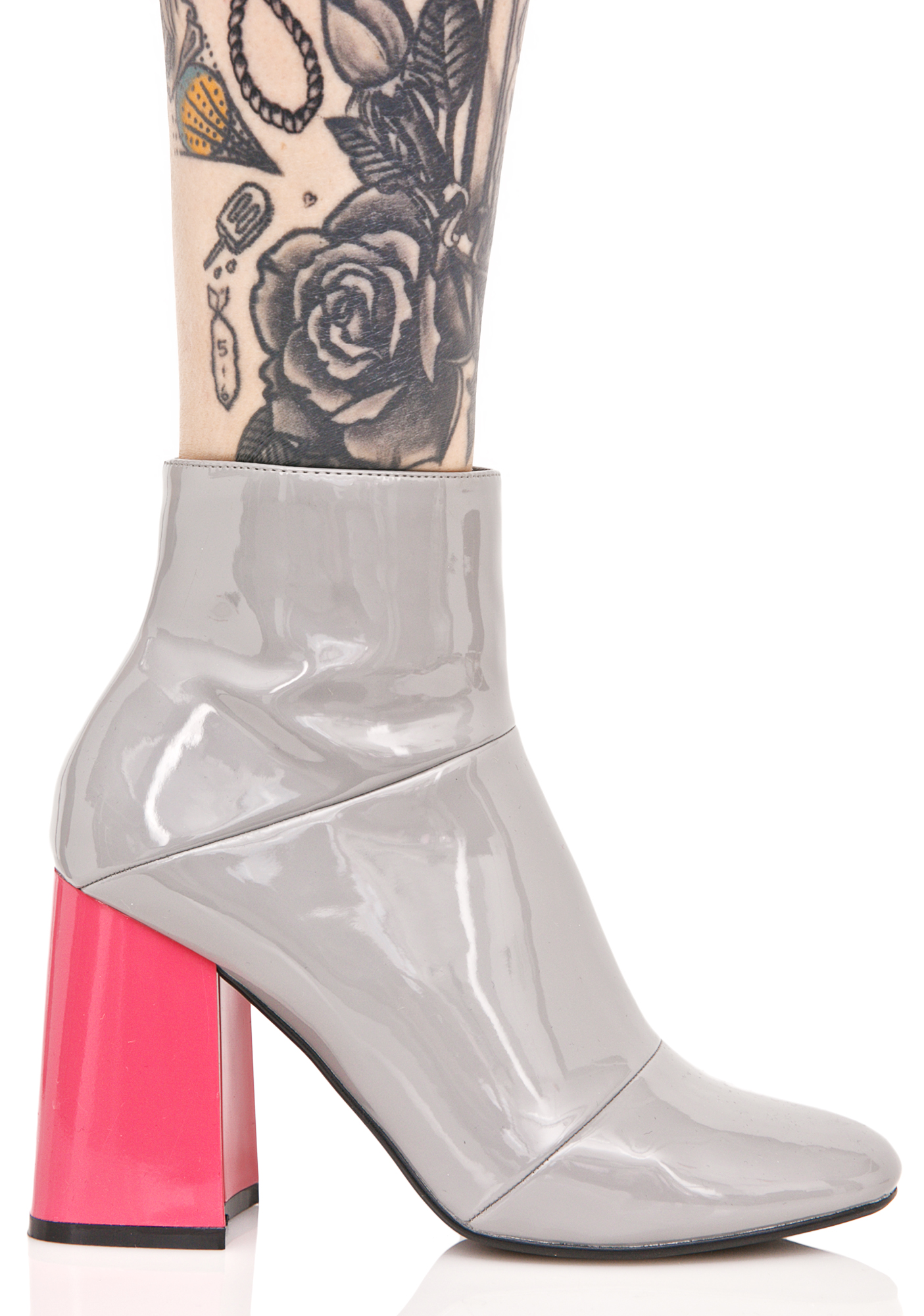 Grey Patent Leather Ankle Boots