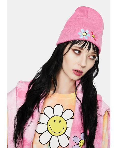 Pink Hazy Daisy Beanie