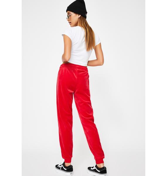 Dickies Girl Red Stripe Velour Joggers