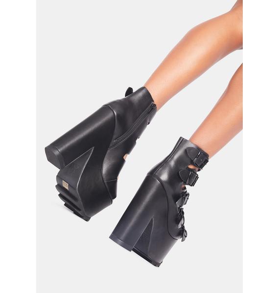 Y.R.U. Black Dreamscape Platform Heels