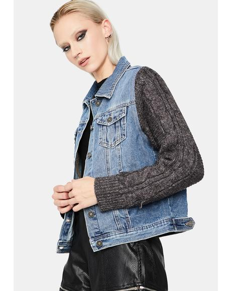 No Worries Knit Sleeve Denim Jacket