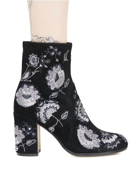 Waco Embroidered Floral Booties