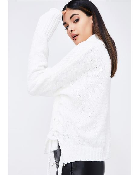 No Guesses Lace-Up Sweater