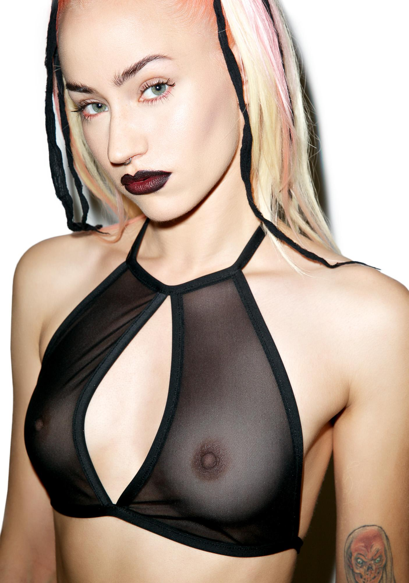 Little Black Diamond Mesh Halter Top