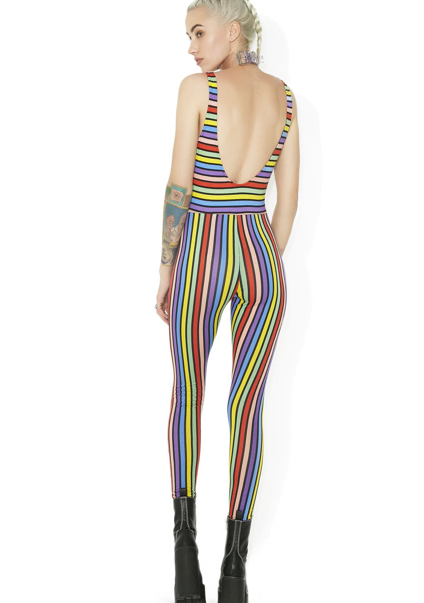Motel Over The Rainbow Striped Jumpsuit