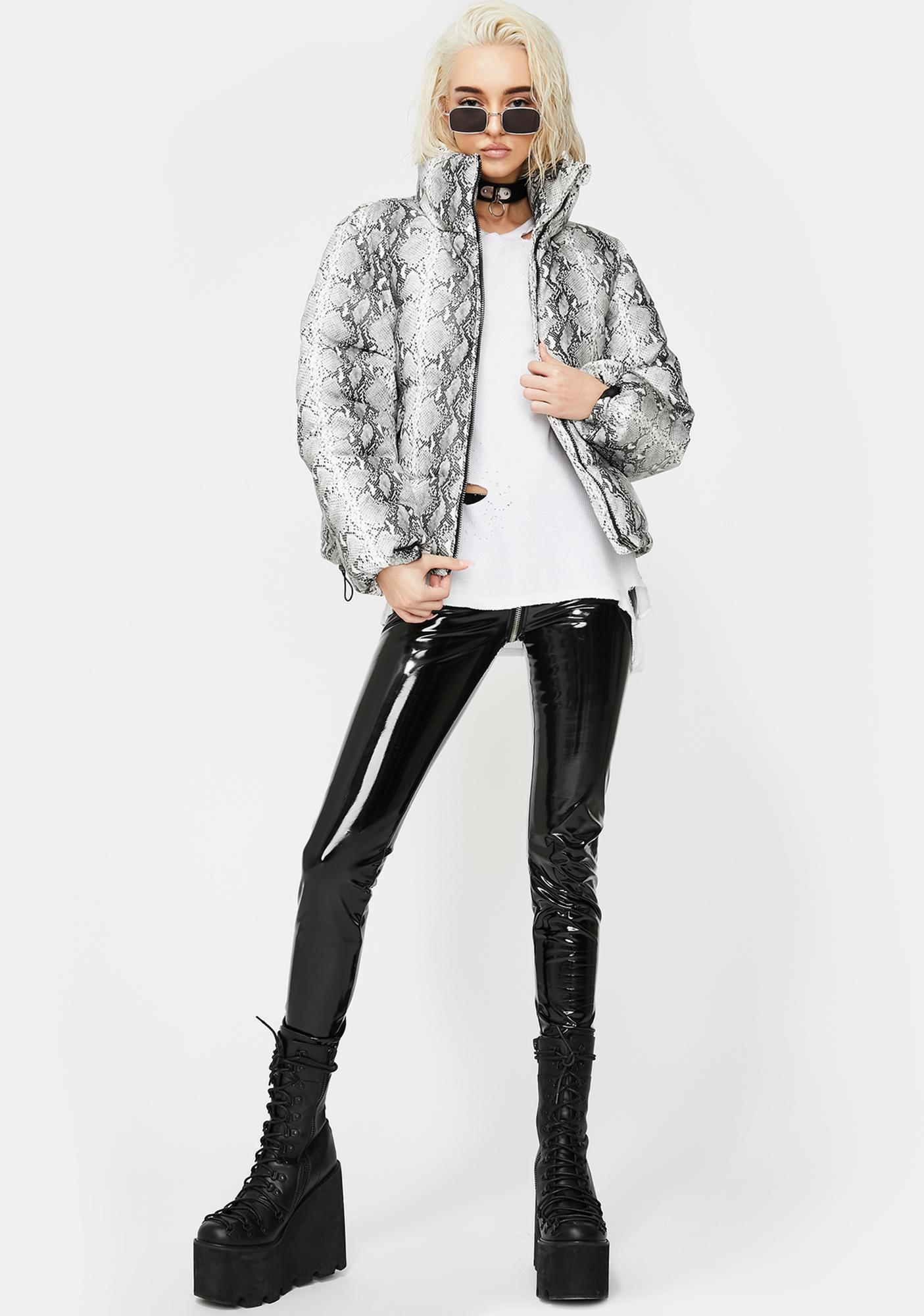 Glamorous Toxic Freeze Snakeskin Puffer
