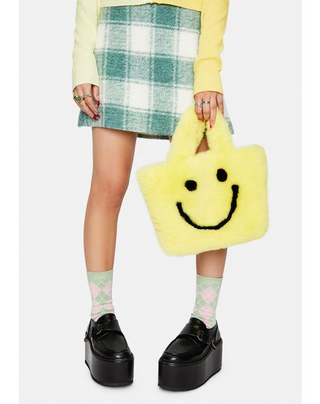 Yellow Smiley Face Faux Fur Bag
