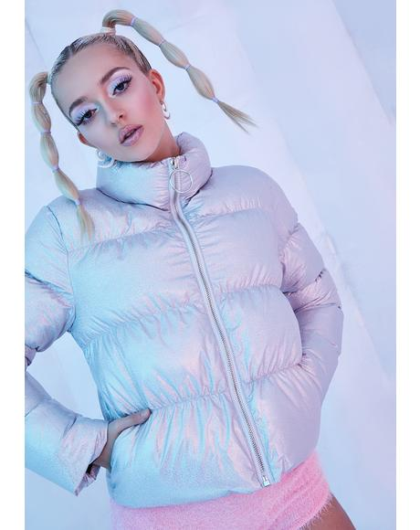 Moonstone Holographic Puffer Jacket