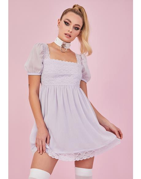Iris Honeydew Pucker Babydoll Dress