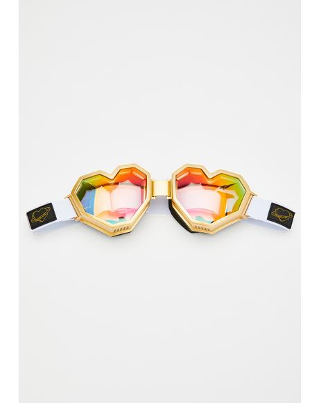 Gold Heart Goggles